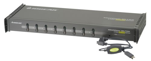 IOGEAR 8-Port MiniView Ultra KVM Switch with Cables, PS2 and USB, GCS138KITUP