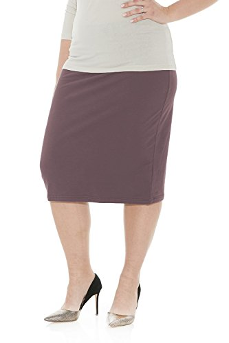 (Esteez Womens Plus Size Skirt Cotton Spandex Knee Length Dallas Charcoal)