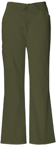Dickies Medical Scrubs 854206 Women's Missy Fit Every Day Scrubs Back Elastic Flare Leg Pant Dark Olive (Everyday Scrubs Flare Leg)