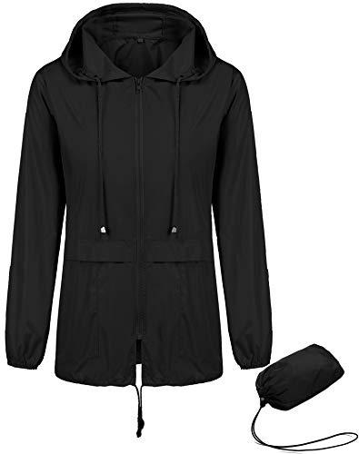 Kikibell Waterproof Rain Jacket Women Waterproof with Hood Lightweight Raincoat Outdoor Windbreaker Rain Jacket Ladies Raincoat Hooded Jacket Black XXL - Black Ladies Jacket