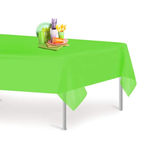 Lime Green 6 Pack Premium Disposable Plastic Tablecloth 54 Inch. x 108 Inch. Rectangle Table Cover By Grandipity