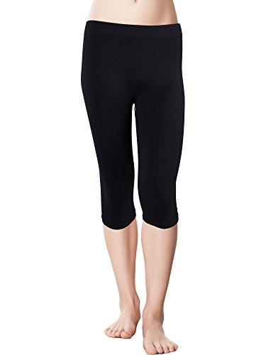 Red Bene Women's Microfiber Seamless Capri Leggings, Plus-Size Black
