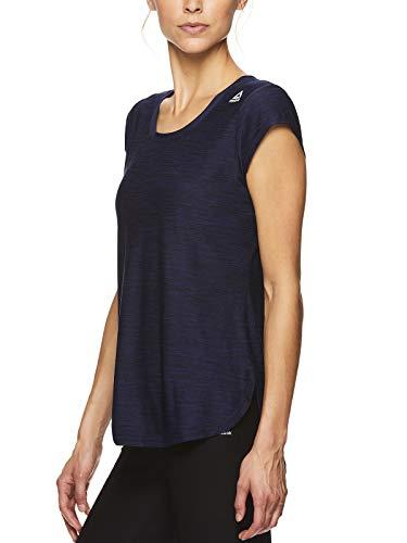 Reebok Women's Legend Performance Short Sleeve T-Shirt with Polyspan Fabric - Aged Blue Heather, X-Small by Reebok (Image #2)