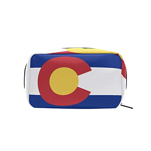 - Colorado State Flag Makeup Bags Multi Compartment Pouch Storage Cosmetic Bag