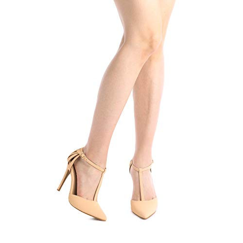 DREAM PAIRS Women's Oppointed-Mary Nude Nubuck Fashion Dress High Heel Pointed Toe Wedding Pumps Shoes Size 9 M US