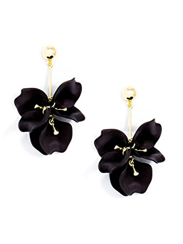 Painted Flower Earrings - ZENZII Pastel Petals Earring (Black)