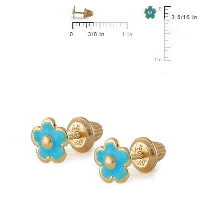 Girls Jewelry - 14K Yellow Gold Blue Flower Screw Back Stud Earrings
