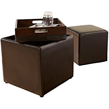 Ashley Furniture Signature Design   Storage Ottoman With Flip Tray Top And  Additional Cube Ottoman   Chocolate Brown