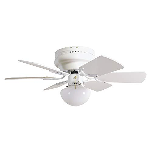 Design House 152991 Downrod Mount, 6 White Blades Ceiling fan with 45 watts light, White
