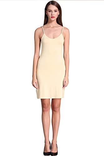 Active Slip - Women's Long Spaghetti Strap Cami Active Basic Camisole Slip Dress Light Yellow Large