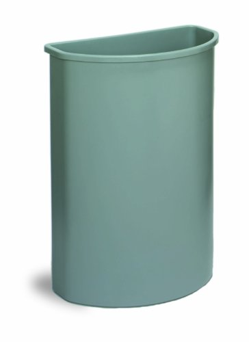 Continental 8321GY 21-Gallon Wall Hugger LLDPE Waste Receptacle, Half Round, Gray