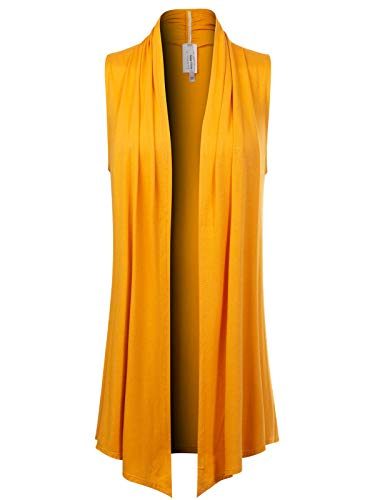 Design by Olivia Women's [Made in USA] Open Front Draped Waterfall Sleeveless Shawl Cardigan Vest (S-3XL) Mustard L