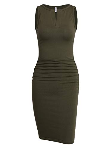- Missufe Women's Cute V Neck Casual Ruched Sundress Sheath Knee Length Bodycon Dress (Sleeveless Army Green, Large)