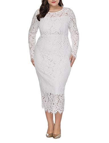 Womens Plus Size Lace Dresses Formal Floral Lace Dress Long Sleeve Midi Dress for Cocktail Evening Wedding Party Work White