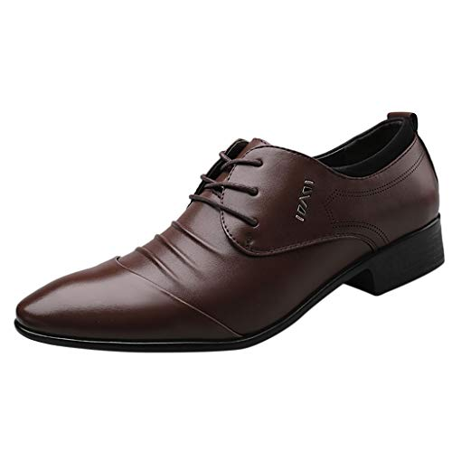 TIFENNY Suit Shoes for Men Lace Business Leather Shoes Male Casual Pointed Toe Low-Heel Comfortable Dress Shoes