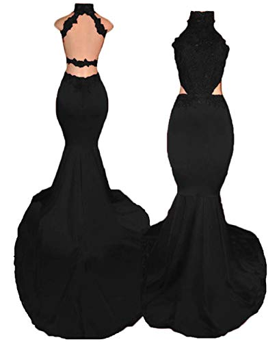 Sexy Halter Prom Dresses Long Mermaid 2019 Beaded Backless Formal Evening Gowns with Lace Appliques Black ()