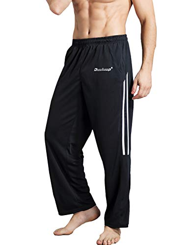 (Duuluup Workout Pants Men - Quick Dry Active Sports Sweatpants Open-Hem with Pockets (Grey with Pocket&Stripe, L))