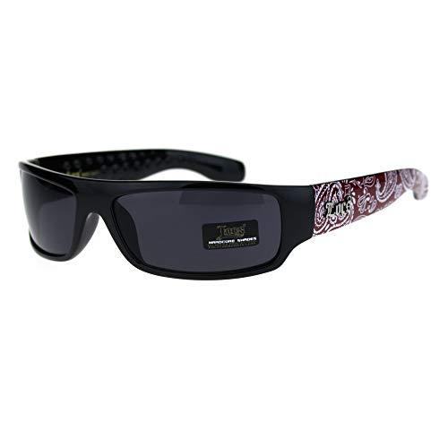 (Locs Mad Dog Hardcore Gangster Cholo Narrow Rectangular Sunglasses Red Bandana)