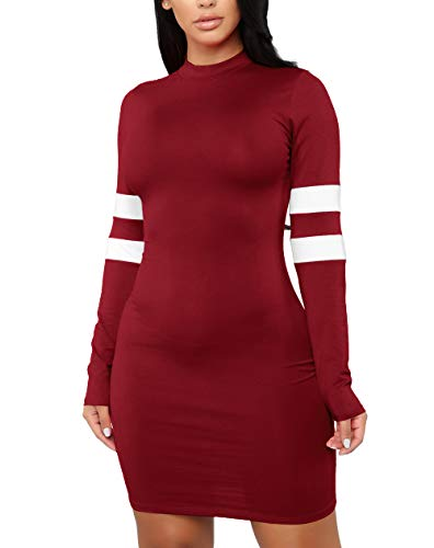 - MolVee Women's Sexy Bodycon Tight Long Sleeve Dress Nightclub Mini T Shirt Dresses (M, Wine Red)