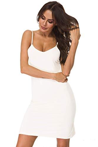 (LifeBest Women's Full Slip Under Adjustable Spaghetti Strap Cami Mini Dress White, Medium)