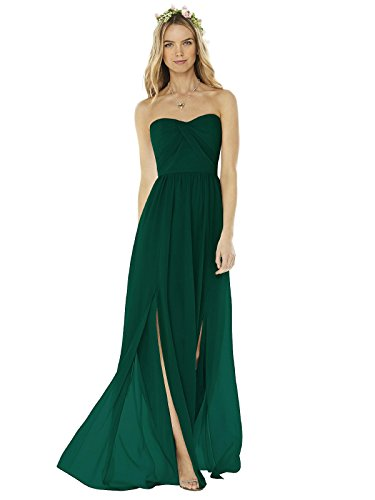 (SOCIAL BRIDESMAIDS Style 8159 Floor Length Nu-Georgette Princess Line Formal Dress - Strapless Sweetheart Neckline - Hunter - 2)