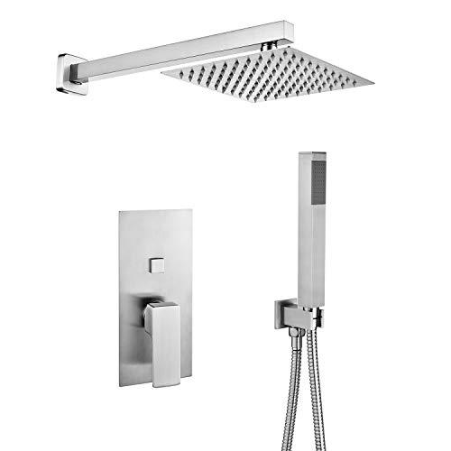 (Bathroom Luxury Rain Mixer Shower Combo Set Wall Mounted Rainfall Shower Head System Brushed Nickel)