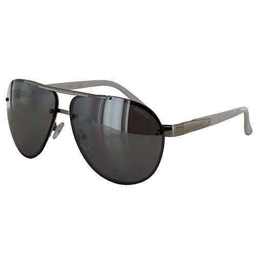 Guess Mens GF0165 Aviator Wire Frame Fashion Sunglasses, White/Grey (Sunglasses For Men By Guess)