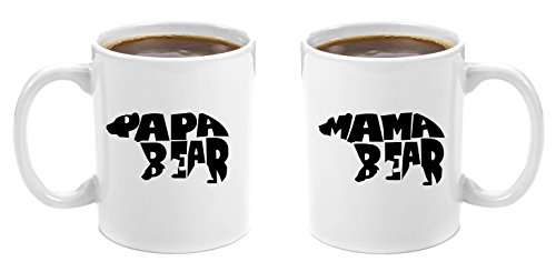 Mama Bear & Papa Bear | Premium 11oz Coffee Mug Gift Set - Perfect Birthday Gifts for Mom and Dad, Anniversary Gifts for Parents, New Parents Gifts, Dad to be Gifts, Christmas Mom Dad His Grandparents