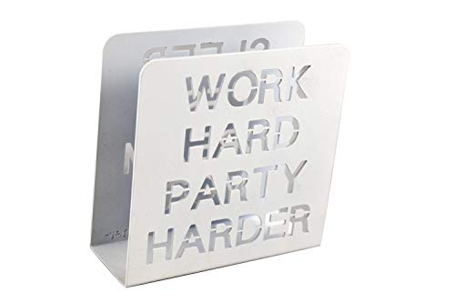 H&K Work Hard Party Harder Steel Napkin Letter Book Holder, White