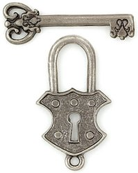 Blue Moon Manor House Metal Toggle Clasps, Lock and Key, Ant. Silver, 6/Pkg (Clasps Moon Blue)