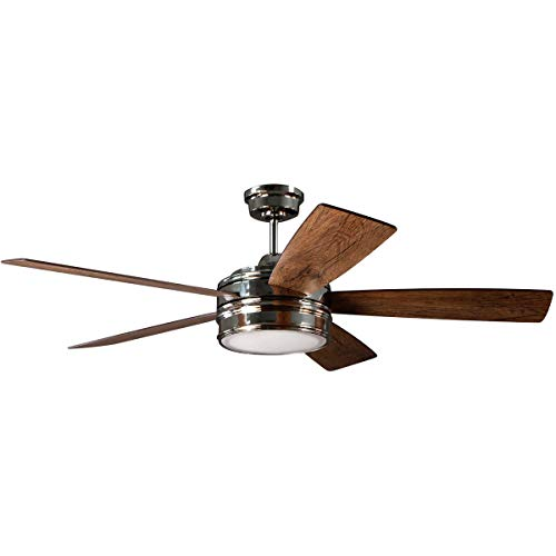 (Indoor Ceiling Fans 1 Light Fixtures with Polished Nickel Finish Plywood Silicon Steel Material Disc 15