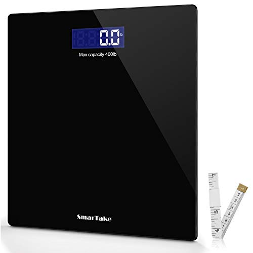 (Weight Scale, SmarTake Precision Digital Body Bathroom Scale with Step-On Technology, 6mm Tempered Glass Easy Read Backlit LCD Display, 400 Pounds,Black)