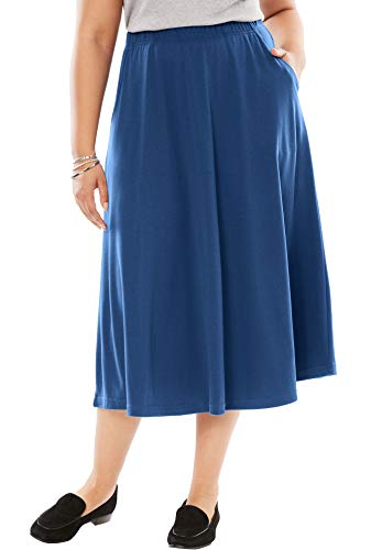 Elastic Waist Knit Skirt - Woman Within Women's Plus Size 7-Day Knit A-Line Skirt - Royal Navy, 1X