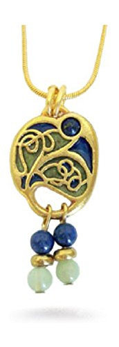 'Vienna Secessionist' Enameled Simulated Blue Lapis Lazuli and Green Jade Pendant Necklace, 18