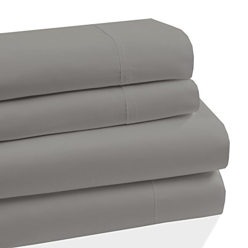 Westbury Manor 400 Thread Count 100% Combed Cotton 4 Piece Sheet Set, Soft Sateen Weave,King Sheet Set, Egyptian Quality Cotton, Deep Pockets,Hotel Collection,Luxury Bedding, Grey