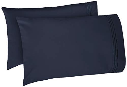 AmazonBasics Premium Soft, Easy-Wash Microfiber Embroidered Hotel Stitch Pillowcase Set - King, Navy Blue