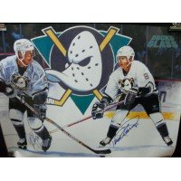 Signed Ducks, Anaheim Mighty (Paul Kariya / Teemu Selanne) 18x24 Poster By Paul Kariya and Teemu Selanne autographed (Teemu Ducks Anaheim Selanne)