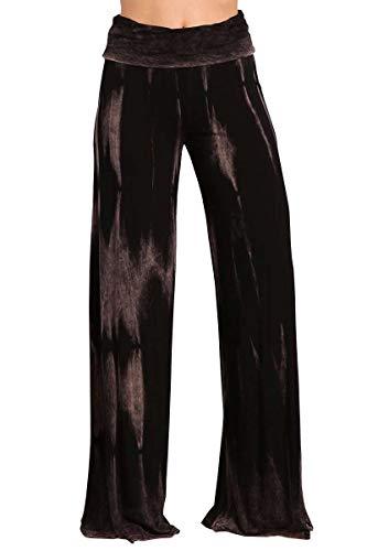 (HEYHUN Womens Tie Dye Solid Wide Leg Bottom Boho Hippie Lounge Palazzo Pants - Black Taupe - Medium)