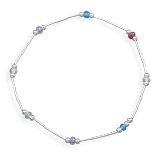 9'' Liquid Silver Anklet with Glass Beads