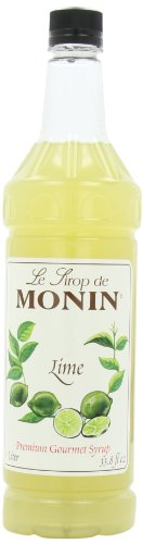 Monin Flavored Syrup, Lime, 33.8-Ounce Plastic Bottles (Pack of 4)