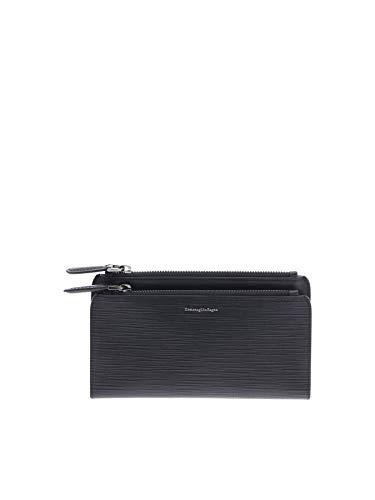 Z Zegna Men's E1438jjakner Black Leather Wallet