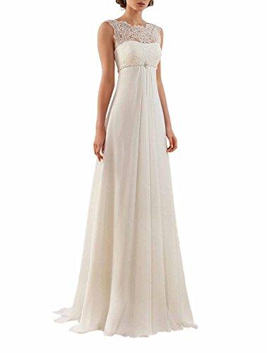 Half Flower Bridal Chiffon Empire Waist Wedding Dresses For Bride A line Floor Length Wedding Gown US12 by Half Flower Bridal