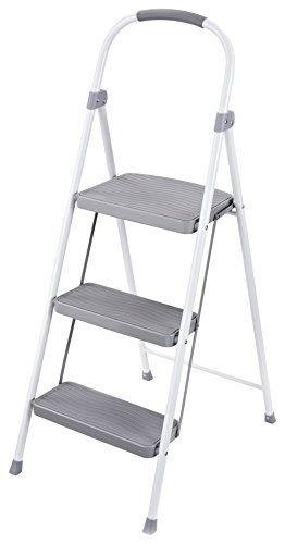 (Rubbermaid RMS-3 3-Step Steel Step Stool, 225-pound Capacity, White)
