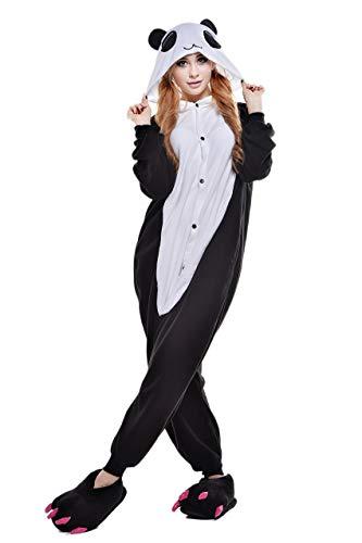 (Cokle Adult Cartoon Pajamas One Piece Sleepsuit Hooded Lounge Sleepwear Animal Costumes Red-Eye Panda)
