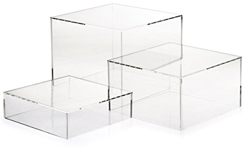 Set of 3- Acrylic Cube Display Nesting Risers, Hollow Bottoms (White, Transparent