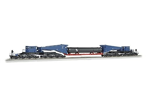 (Bachmann Industries 380 Ton Schnabel Retort/Cylinder Load Ho Scale Freight Car, Blue/Black)