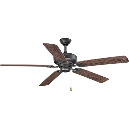 Progress Lighting P2562-80 Protruding Mount, 5 Toasted Oak Blades Ceiling fan, Forged Black