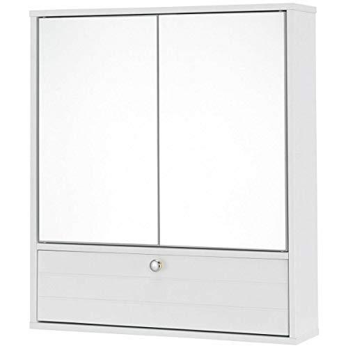 NanaPluz 21.5'' x 5.5''x 24.5'' Wood Double Mirror Door Wall Mount Kitchen Medicine Storage Organizer Bathroom Cabinet w/Shelf - White with ()