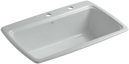 (Kohler K-5863-2-95 Cape Dory Self-Rimming Kitchen Sink with Two-Hole Faucet Drilling, Ice Grey)