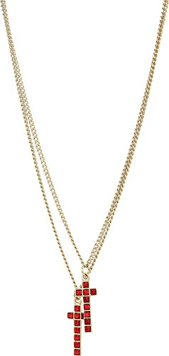 DSQUARED2  Men's Cross Necklace Gold/Ruby One Size by DSQUARED2